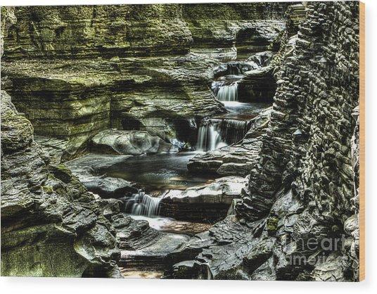 Central Cascade Watkins Glen Wood Print