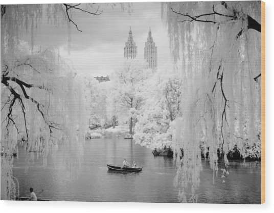 Central Park Lake-infrared Willows Wood Print