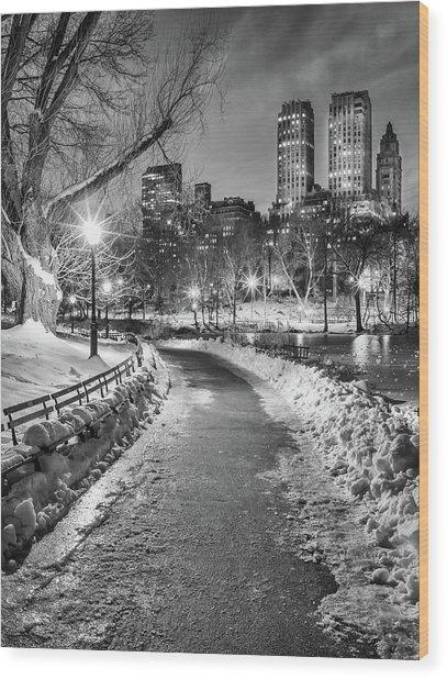 Central Park Path Night Black & White Wood Print