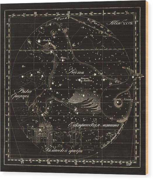 Cetus Constellations, 1829 Wood Print by Science Photo Library