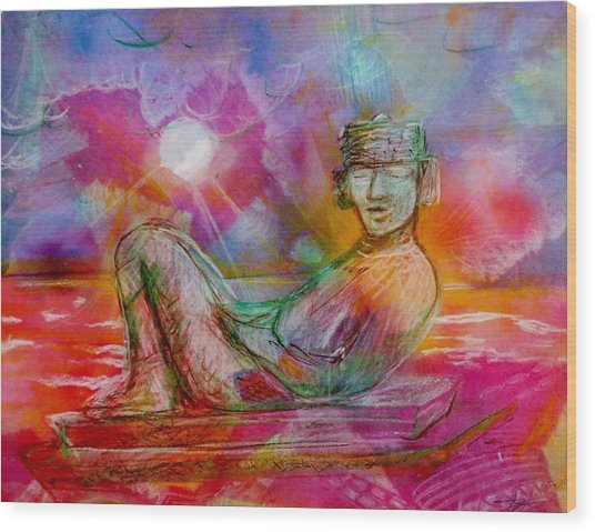 Chacmool Of Tulum Wood Print