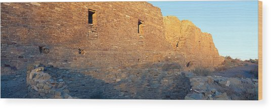Chaco Canyon Indian Ruins, Sunset, New Wood Print