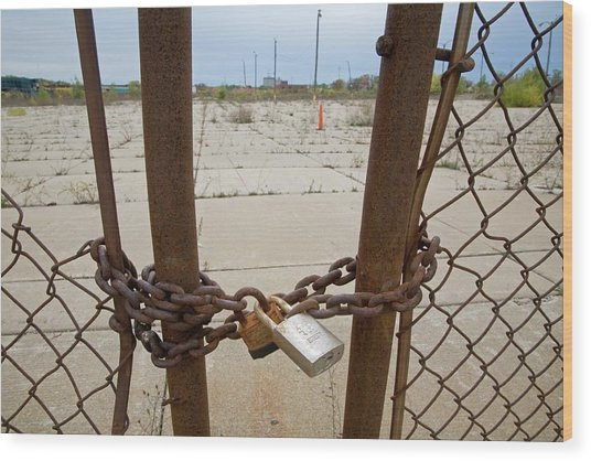 Chained And Padlocked Gate Wood Print by Jim West