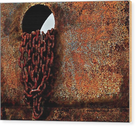 Chained To The Past And Rusted Wood Print