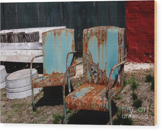 Chair Blossoms  Wood Print by Steven Digman