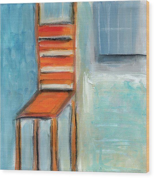 Chair By The Window- Painting Wood Print