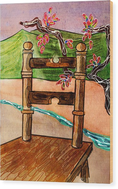 Chair In Landscape Wood Print