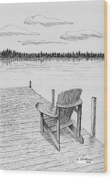 Chair On The Dock Wood Print