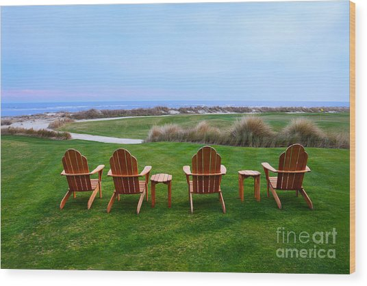 Chairs At The Eighteenth Hole Wood Print