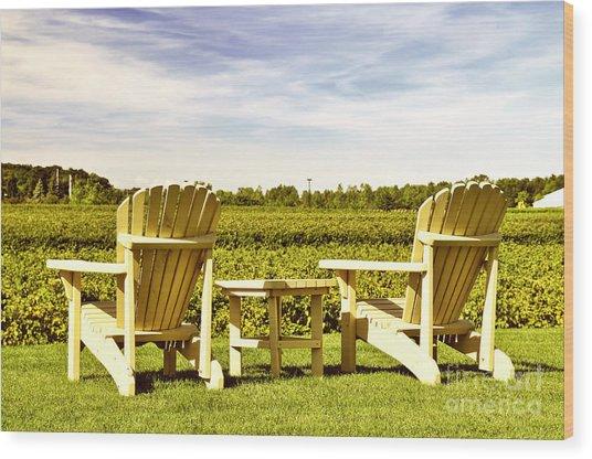 Chairs Overlooking Vineyard Wood Print