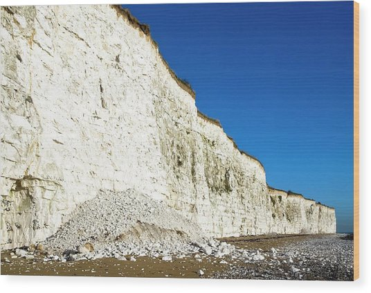 Chalk Cliffs Wood Print by Carlos Dominguez