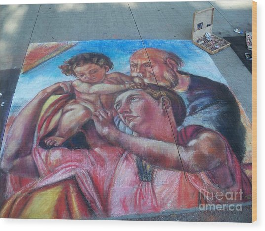 Chalk Painting By Street Artist Wood Print