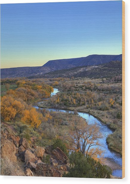 Chama River At Sunset Wood Print