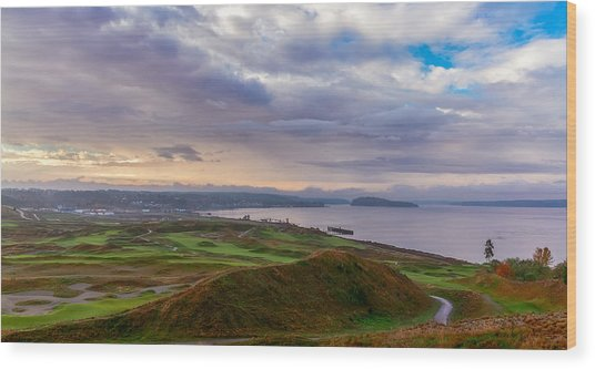 Chambers Bay Links Wood Print