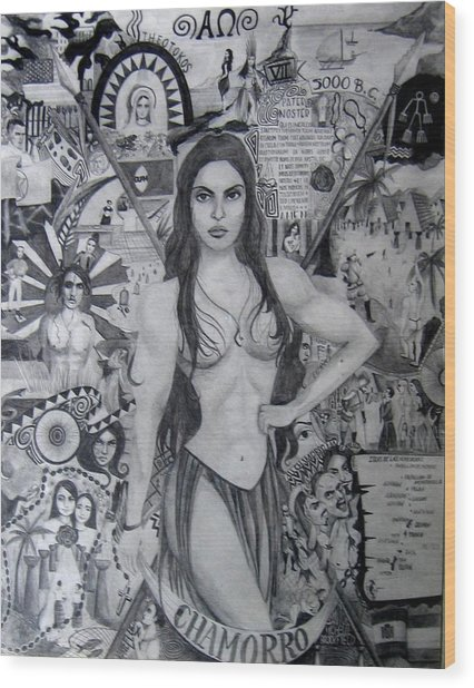 Wood Print featuring the drawing Chamorro Chronology by Michelle Dallocchio