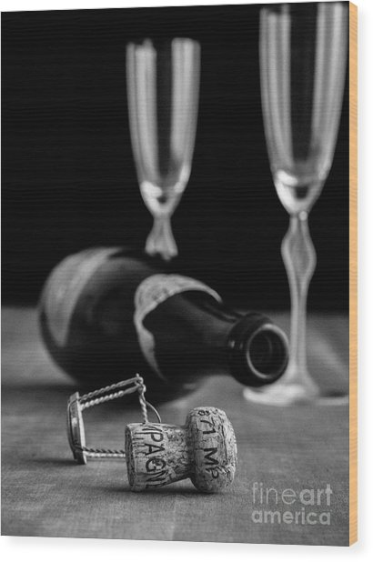 Champagne Bottle Still Life Wood Print