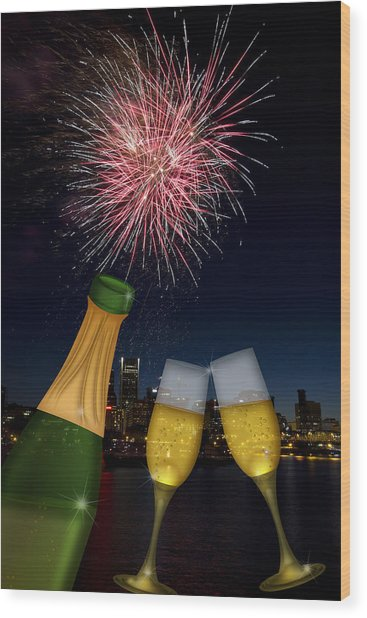 Champagne Toast With Portland Oregon Skyline Wood Print