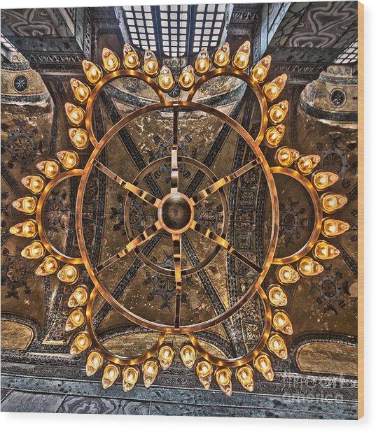 Chandelier At Hagia Sophia Wood Print