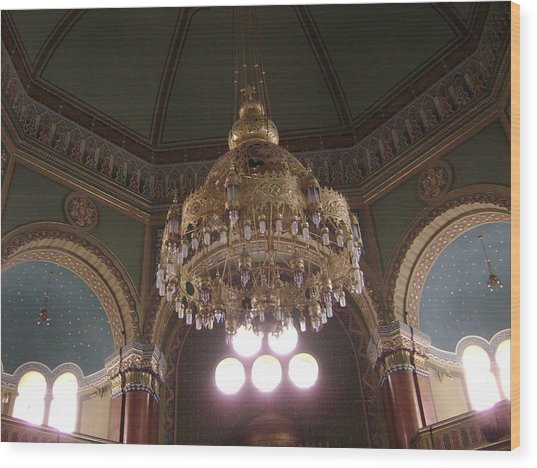 Chandelier Of Sofia Synagogue Wood Print