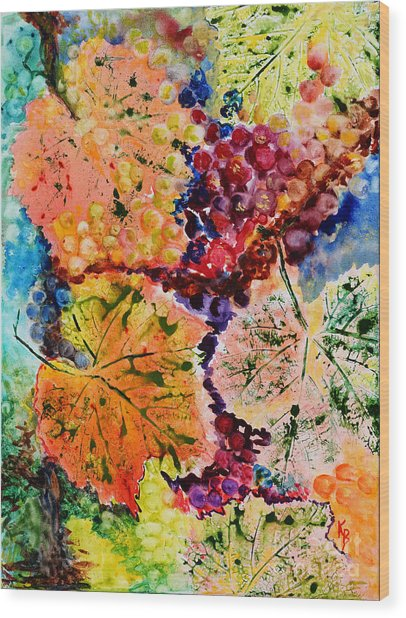 Wood Print featuring the painting Changing Seasons by Karen Fleschler