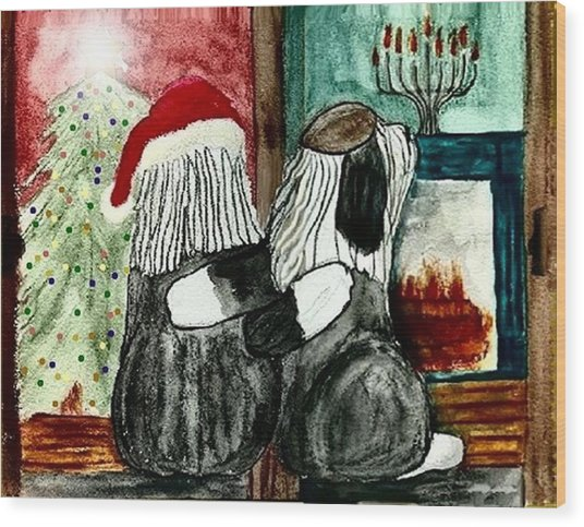 Chanukah Christmas Friends Wood Print