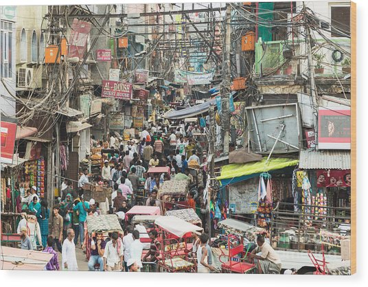 Chaotic Streets Of New Delhi In India Wood Print