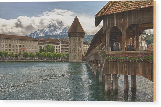 Chapel Bridge Lucerne Switzerland Wood Print