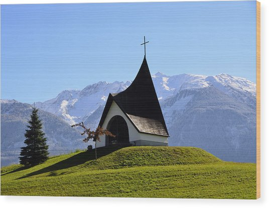 Chapel In The Alps Wood Print