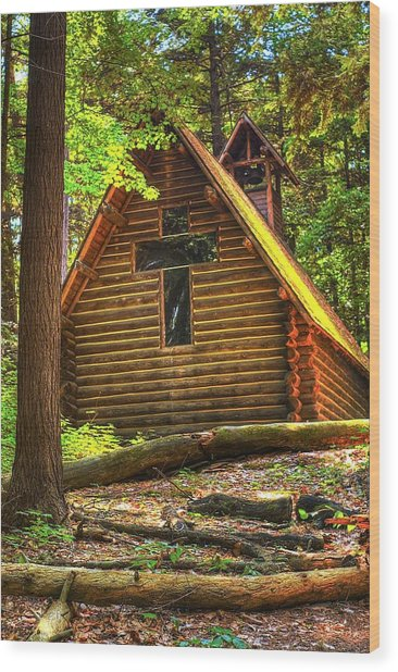 Chapel In The Pines Wood Print