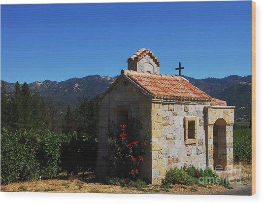 Chapel In The Vineyard Wood Print by Mel Steinhauer