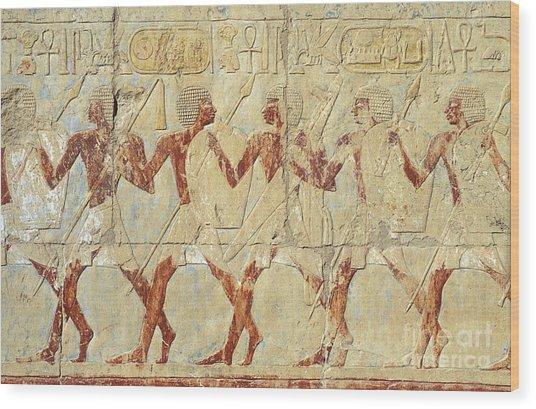 Chapel Of Hathor Hatshepsut Nubian Procession Soldiers - Digital Image -fine Art Print-ancient Egypt Wood Print
