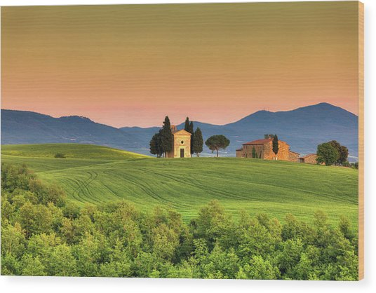 Chapel Of Vitaleta In Tuscany, Val Wood Print by Zodebala