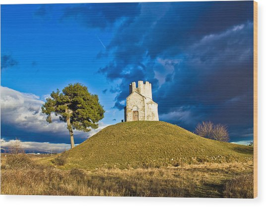 Chapel On Green Hill Nin Dalmatia Wood Print