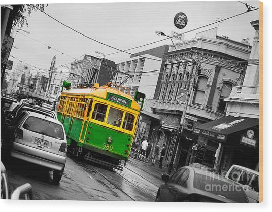 Chapel St Tram Wood Print