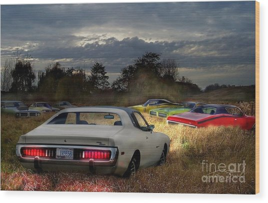 Charger Field Wood Print by Tom Straub