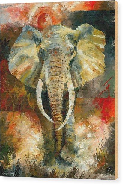 Charging African Elephant Wood Print