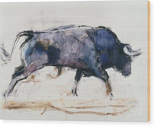 Charging Bull Wood Print