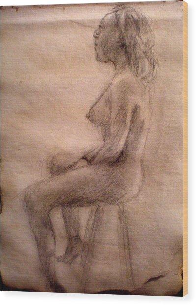 Charity Figure Drawing 3 Wood Print by Steve Spagnola