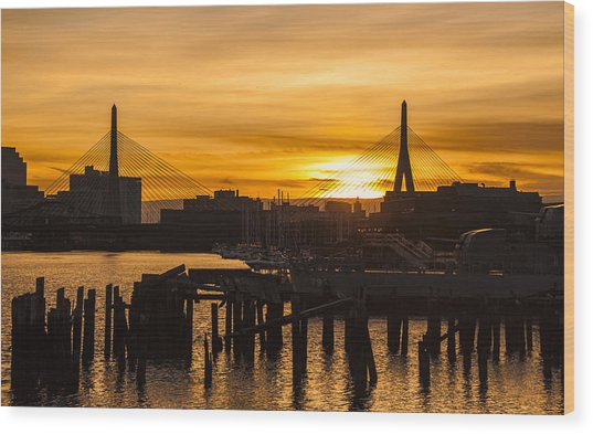 Charles River Sunset Wood Print by T C Hoffman