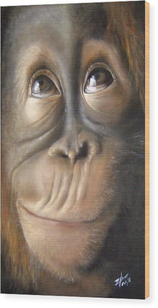 Charles The Monkey Wood Print by Michelle Iglesias