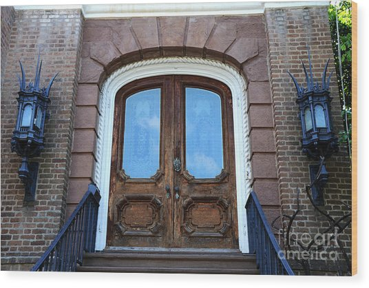 Charleston French Quarter Gothic Ornate Door And Lanterns - Charleston French Quarter Architecture  Wood Print