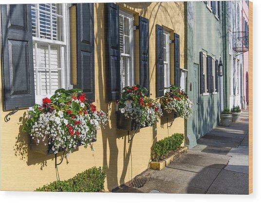 Charleston Sc Rainbow Row Wood Print