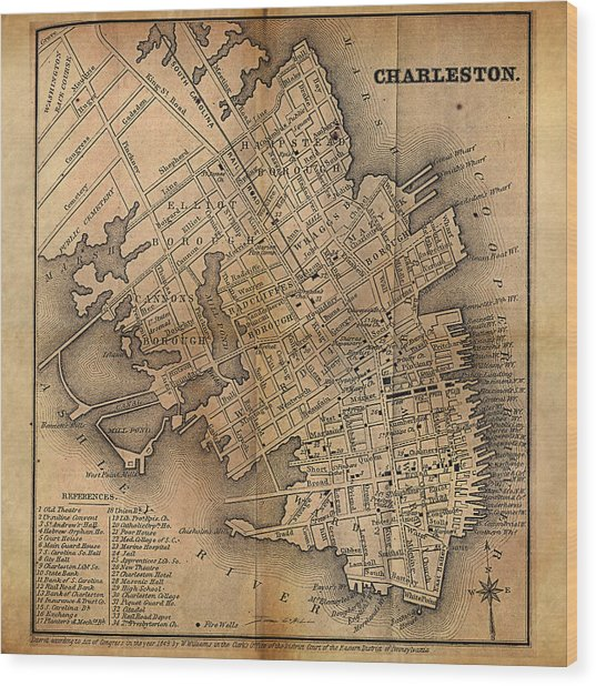 Charleston Vintage Map No. I Wood Print