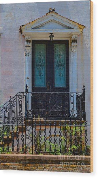Charleston Wood Door Etched Glass Wood Print