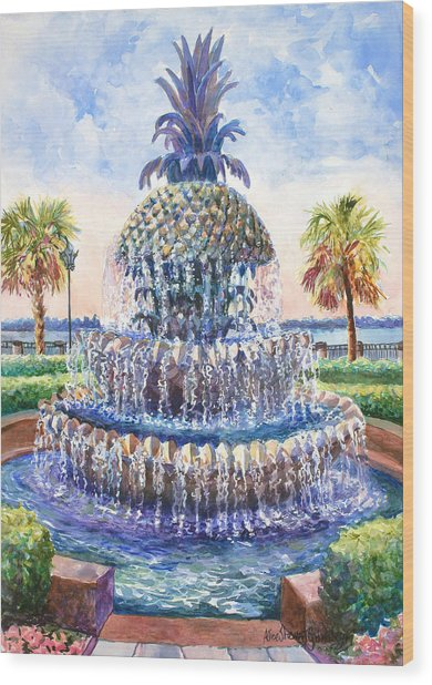 Charleston's Pineapple Fountain Wood Print
