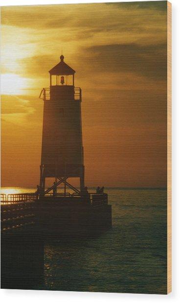 Charlevois Sunset Wood Print
