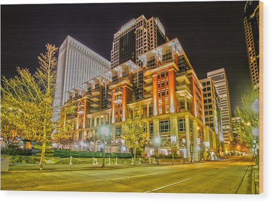 Charlotte City Skyline Night Scene Wood Print