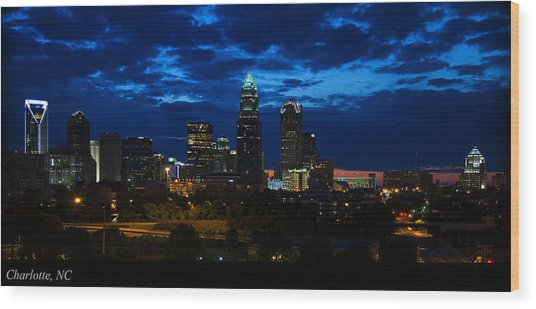 Charlotte North Carolina Panoramic Image Wood Print