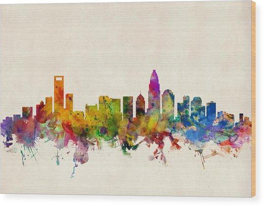 Charlotte North Carolina Skyline Wood Print