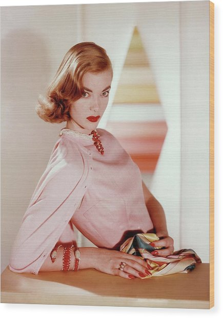 Charlotte Payne Wearing Cartier Jewelry Wood Print by Horst P Horst